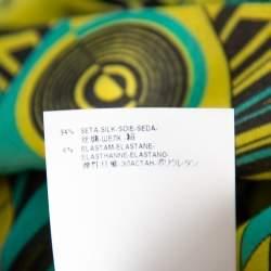 Versace Yellow Printed Silk Shirt & Cotton Mini Skirt Set S