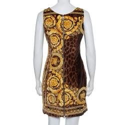 Versace Brown Animal and Baroque Print Velvet Sleeveless Sheath Dress M