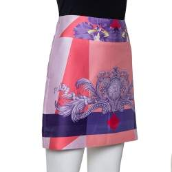 Versace Pink Printed Cotton Mini Skirt M