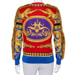 Versace Red & Blue Printed Cotton Fringed Detail Sweater XS