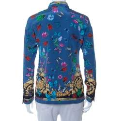 Versace Blue Baroque Butterfly & Ladybug Printed Silk Button Front Shirt S