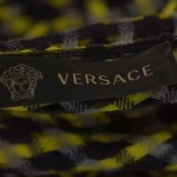 Versace Black & Yellow Wool Open Weave One Shoulder Midi Dress S
