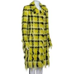 Versace Yellow Checkered Tweed Fringed Detail Collared Coat M