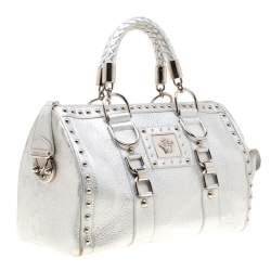 Versace Metallic Silver Leather Madonna Satchel