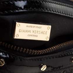 Versace Black Woven Patent Leather Snap Out Of It Satchel