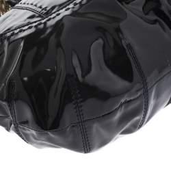 Versace Black Stitches Patent Leather Chain Shoulder Bag