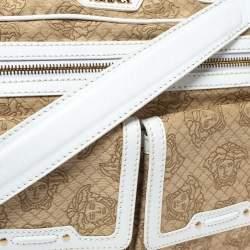Versace White/Beige Medusa Print Fabric and Leather Double Pocket Expandable Shoulder Bag