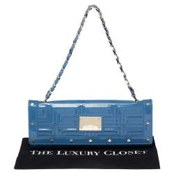 Versace Blue Quilted Patent Leather Flap Shoulder Bag