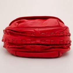 Versace Red Rounded Flap Shoulder Bag