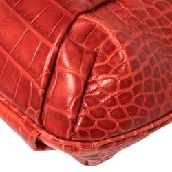 Versace Red Croc Embossed Leather Satchel