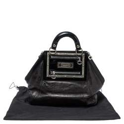 Versace Black Patent And Leather Hit Satchel