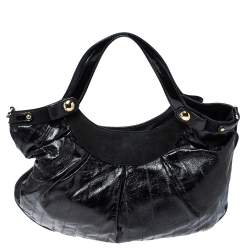 Versace Black Eel Skin, Suede and Patent Leather Satchel