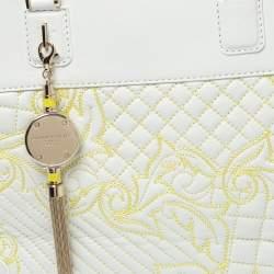 Versace White Barocco Quilted Leather Athena Vanitas Satchel