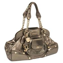 Versace Metallic Leather Pocket Front Frame Satchel
