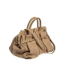 Versace Beige Leather Studded Frame Satchel
