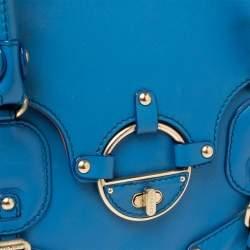 Versace Blue Leather Buckle Embellished Satchel