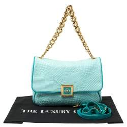 Versace Turquoise Quilted Leather Vanitas Chain Shoulder Bag