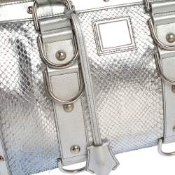 Versace Silver Snakeskin Snap Out Of It Satchel