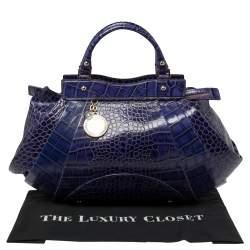 Versace Indigo Blue Croc Embossed Leather Logo Charm Satchel