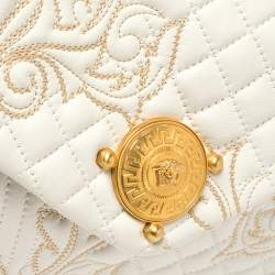 Versace White Quilted Leather Embroidered Barocco Shoulder Bag