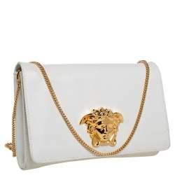 Versace White Leather Medusa Sultan Shoulder Bag