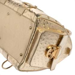 Versace Gold Ostrich Embossed Leather Snap Out Of It Satchel