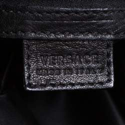 Versace Black/Metallic Leather Medusa Plaque Flap Satchel