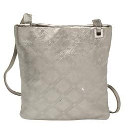 Versace Metallic Silver Leather Slim Crossbody Bag