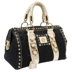 Versace Black Monogram Fabric and Leather Snap Out Of It Satchel