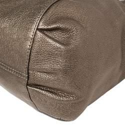 Versace Metallic Perforated Logo Leather Chain Hobo