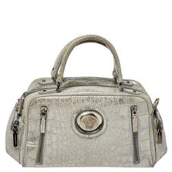 Versace Silver Croc Embossed Leather Satchel