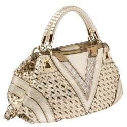 Versace Metallic Gold Woven Leather Crystal Embellished V Satchel
