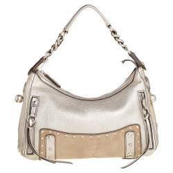Versace Gold/Beige Leather and Suede Studded Hobo