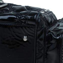 Versace Black Quilted Leather Snap Out Of It Satchel