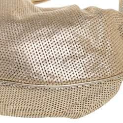 Versace Gold Perforated Leather Tassel Shoulder Bag