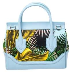 Versace Blue Leather And Desert Palm Print Fabric Palazzo Empire Satchel