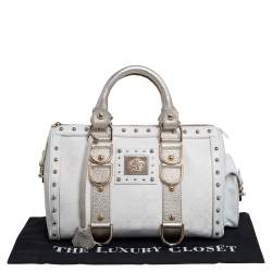 Versace Off White/Gold Monogram Fabric and Leather Snap Out Of It Satchel