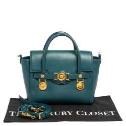 Versace Teal Green Leather Small Medusa Medallion Tote