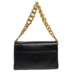 Versace Black Leather Medusa Sultan Shoulder Bag