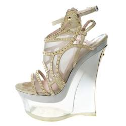 Versace Cream Suede Emebllished Cut Out Ankle Strap Wedge Platform Sandals Size 40