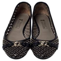 Versace Black Perforated Leather Embellished Ballet Flats Size 37