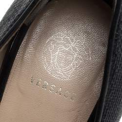 Versace Black Leather And Raffia Peep Toe Pumps Size 38