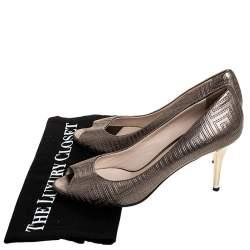 Versace Metallic Grey Embroidered Leather Peep Toe Platform Pumps Size 38