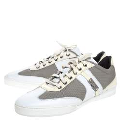 Versace Multicolor Mesh, Leather And Patent Leather Medusa Logo Low Top Sneaker Size 40.5