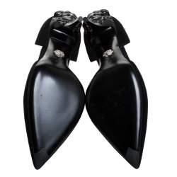 Versace Black Suede Leather Medusa Heel Pointed Toe Pumps Size 39