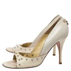 Versace Off-white Python And Leather Open Toe Pumps Size 40