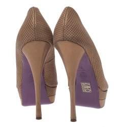 Versace Gold Lame Fabric Peep Toe Platform Pumps Size 38