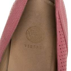 Versace Pink Perforated Leather Bow Embellishment Ballet Flats Size 38