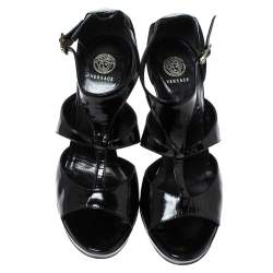 Versace Black Patent Leather Caged Ankle Strap Sandals Size 38
