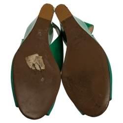 Versace Green Patent Leather Medusa Logo Open Toe Wedge Slingback Sandals Size 40